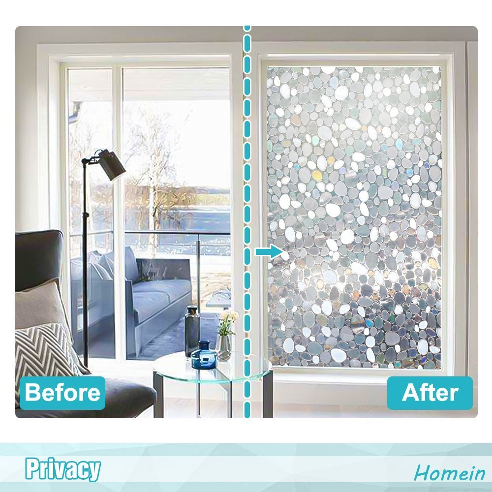 Homein Window Films 3D Static Privacy Decoration Home Window Tint Film for UV Blocking Heat Control Glass Stickers,Pebble,17.7In. by 78.7In. (45 x 200Cm) by Homein (Image #3)