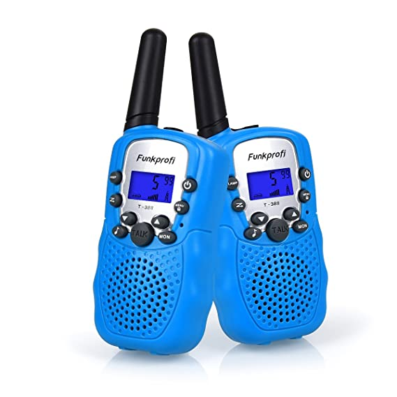 Funkprofi Walkie Talkies für Kinder, T-388 Funkgeräte für Kids ab 3 Jahre PMR 446 Reichweite bis zu 3 km 8 Kanäle für Einkauf