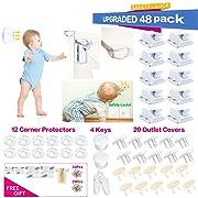 Baby Proofing|48 Pcs Magnetic Cabinet Locks Child Safety No Drilling|8 Magnetic Cabinet Locks With Screws|16 Clear Corner Protectors|20 Outlet Plug Cover Keys|Kids Toddler Proofing Hidden Drawers Lock
