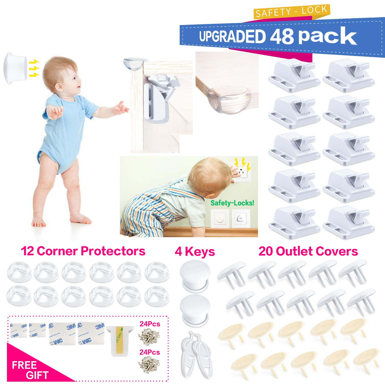 Baby Proofing|48 Pcs Magnetic Cabinet Locks Child Safety No Drilling|8 Magnetic Cabinet Locks With Screws|16 Clear Corner Protectors|20 Outlet Plug Cover Keys|Kids Toddler Proofing Hidden Drawers Lock