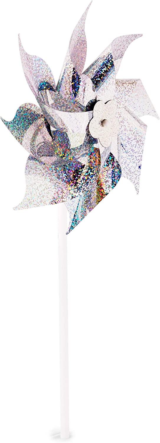 Silver Wind Spinner 7.7 in, 12 Pack Blue Panda Holographic Pinwheels for Yard and Garden