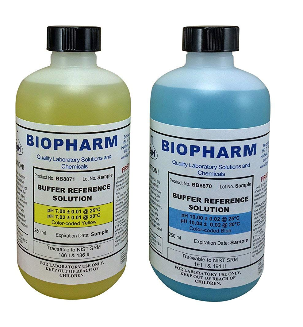 Biopharm pH Calibration Kit (2) 8oz Bottles pH 7 and pH 10 Buffer NIST Traceable Reference Standards for All pH Meters by Biopharm
