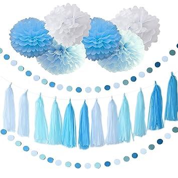 Amazon.com: sunniemart bebé azul y blanco turquesa Papel de ...