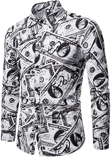 YEBIRAL Hombre Camisa Manga Larga Slim Fit con Botones Dinero ...