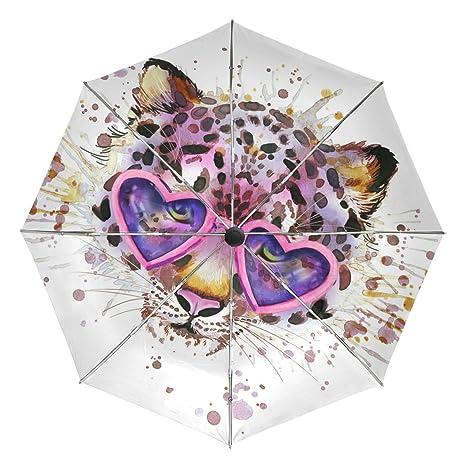 COOSUN Automático Leopardo watercolo Amor del corazón 3 Plegable del Paraguas del Parasol Color # 002