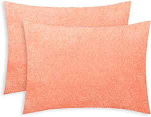 CaliTime Pack of 2 Cozy Standard Pillow Shams Cases for Bed Bedding Decoration Solid Dyed Soft Chenille 20 X 26 Inches Cantaloupe