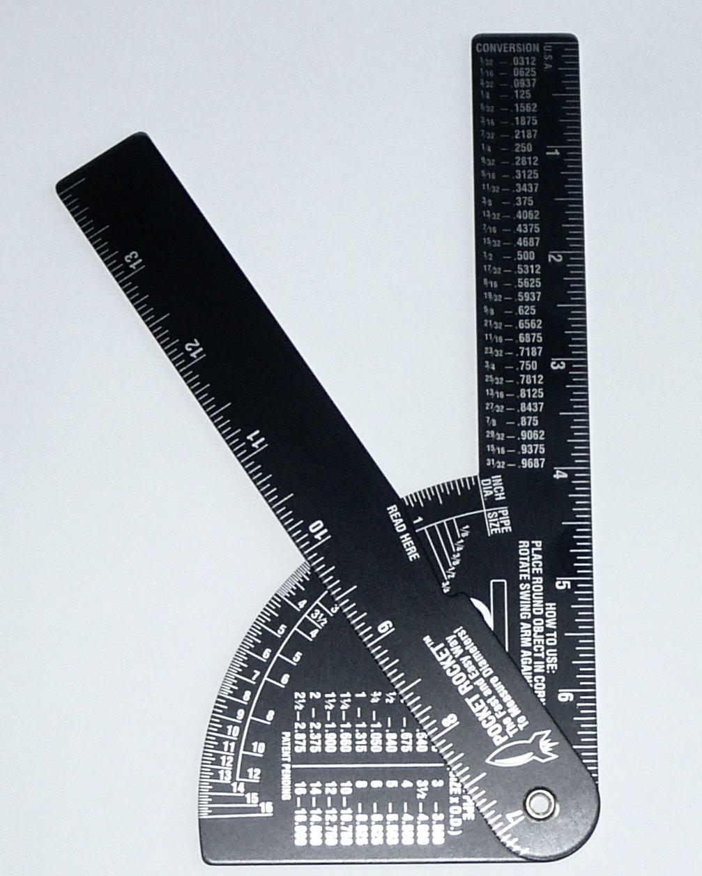 Pocket Rocket: Pipe / Diameter Caliper and Ruler - Fractional – Black Anodized Aluminum