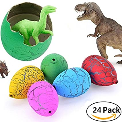 Jofan 24pcs novelty magic large size crack easter dinosaur eggs hatching toy with mini toy dinosaur