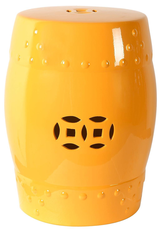 Amazoncom 18 Ceramic Garden Stool Yellow Ceramic Chinese