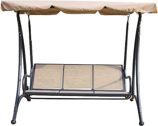 sliverylake Patio al aire libre 3 persona Swing silla hamaca con toldo Patio Textilene asiento playa porche muebles: Amazon.es: Jardín