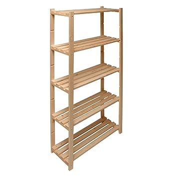Regalsystem holz baumarkt  DEMA Holz Regal mit 5 Böden 80/30/170: Amazon.de: Baumarkt