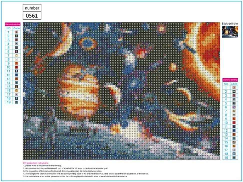 qingqingR Planet 5D Full Drill Diamond Painting Bordado Kit de Punto de Cruz DIY Rhinestone