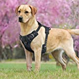 Idepet No-Pull Dog Harness Vest with Handle,Adjustable Reflective Pet Harness Vest Easy Control for Small Medium Large Dogs Training Walking Hiking Black L
