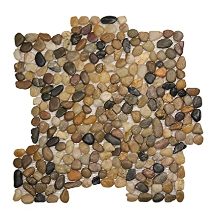 Pebble Stone Small Round Mixed Tile Natural Mosaic In Multicolor