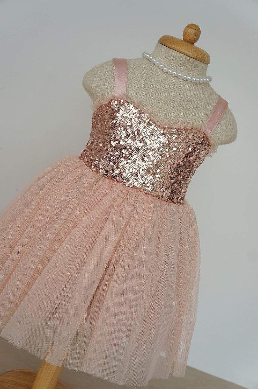 b2c7a2c6a157 Amazon.com: Blush flower girl dress Rose gold flower girl dress Gold sequin flower  girl dress Christmas girl gift: Handmade