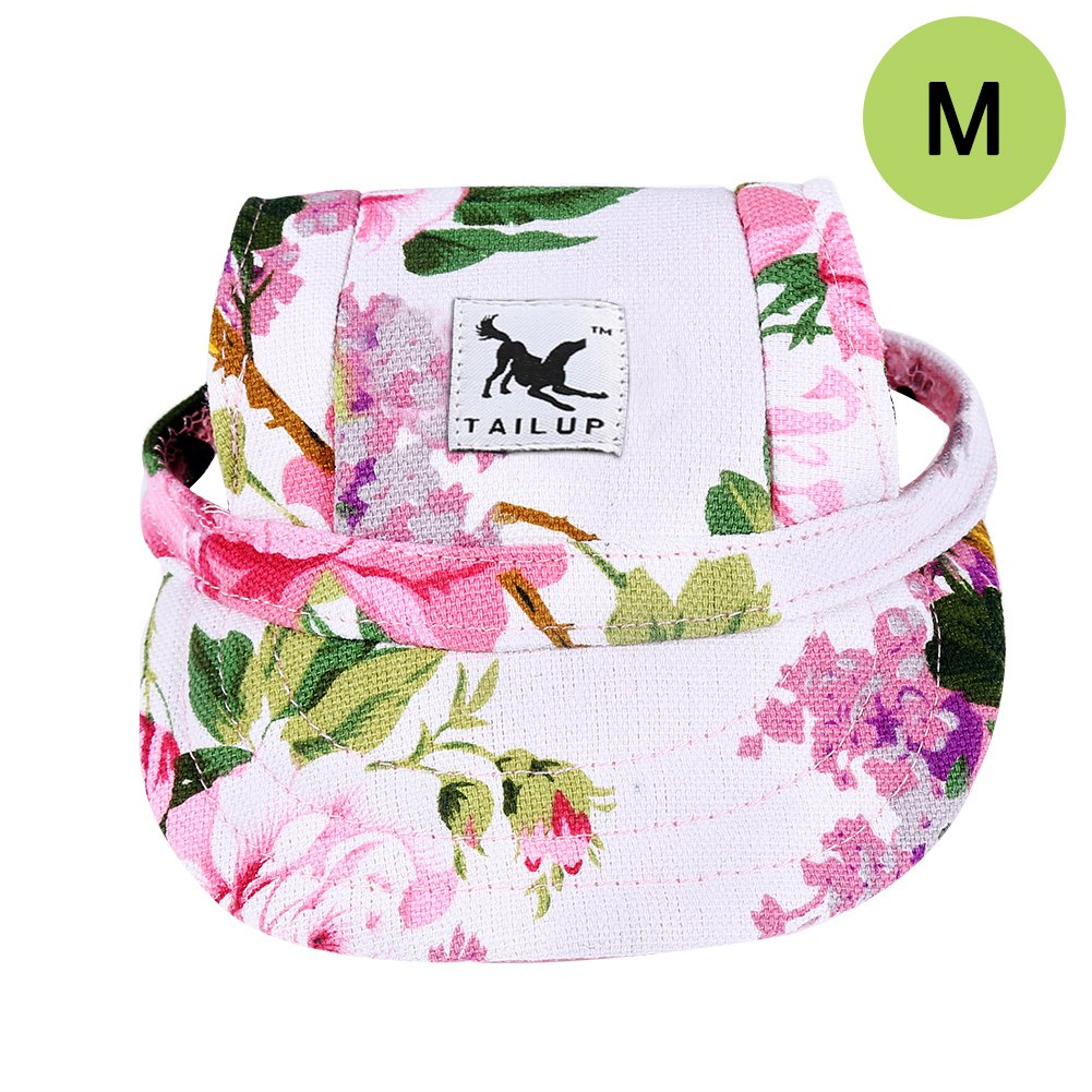 Floral Print CALIFORNIA CADE ELECTRONIC Cade Flower Pattern Nylon Baseball Cap Dogs Hat Visor Cap with Ear Holes for Small Dogs (Floral Print-M)