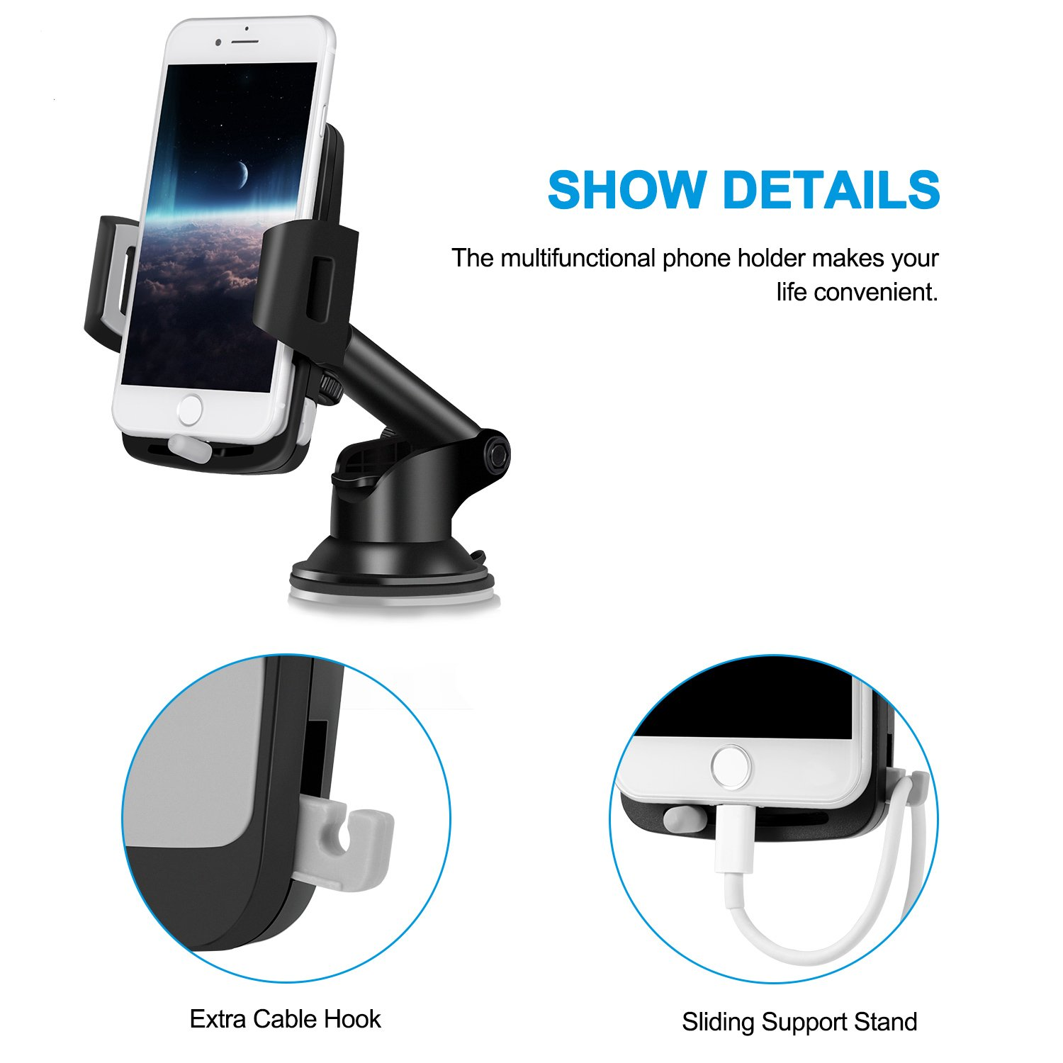 Car Phone Mount,Washable Strong Sticky Dashboard and Windshield Phone Mount Holder with One-Touch Design for iPhone Xs MAX//XS//XR//X//8//8P//7//7P//6s//6P//5S Galaxy S5//S6//S7//S8//S9 Nexus LG and More