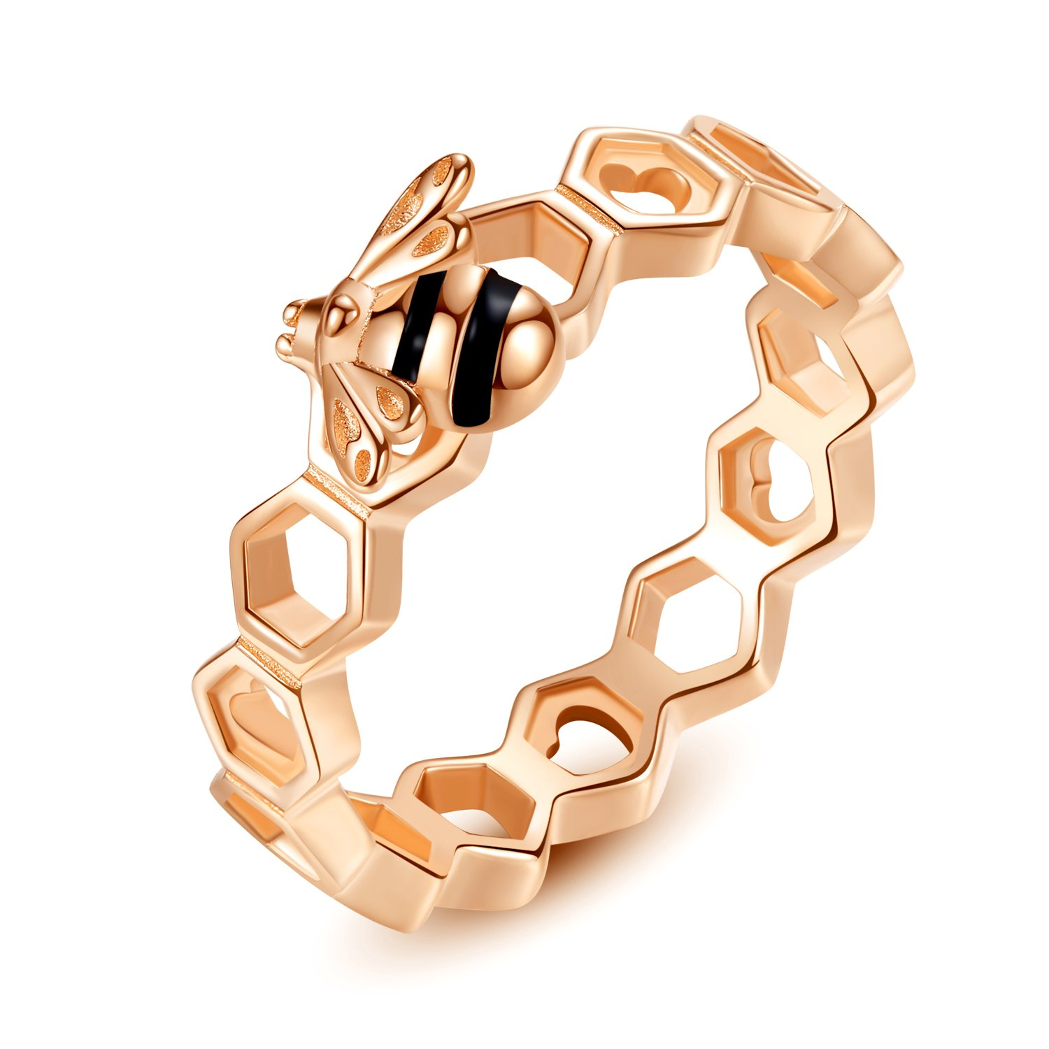 Presentski Rose Gold Beehive Charm Ring Birthday Gift for Women and Girls
