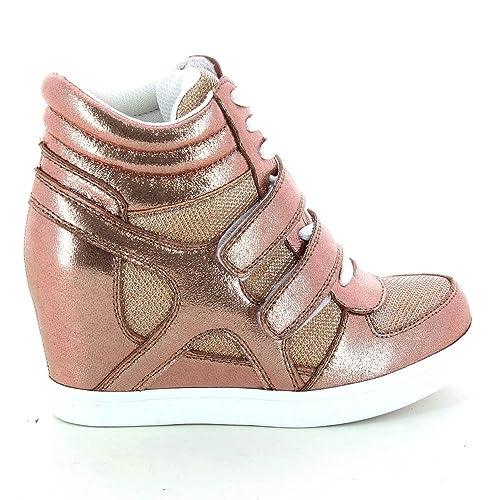 Zapatillas modernas urbanas de mujer con cuña, de 2 materiales, Multicolor (multicolor), Fr 39: Amazon.es: Zapatos y complementos