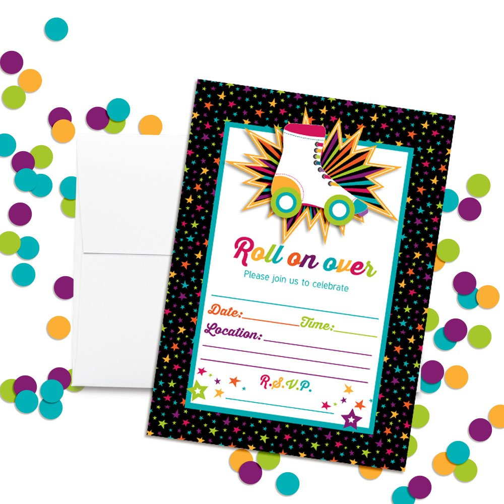 Amazon Roller Skating Birthday Party Invitations 20 5x7 Fill In Cards With Twenty White Envelopes By AmandaCreation Toys Games
