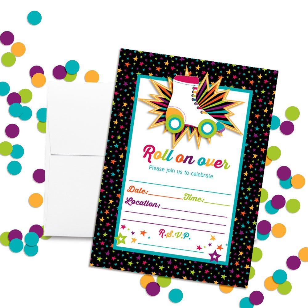 Amazon Com Roller Skating Birthday Party Invitations 20 5 X7 Fill