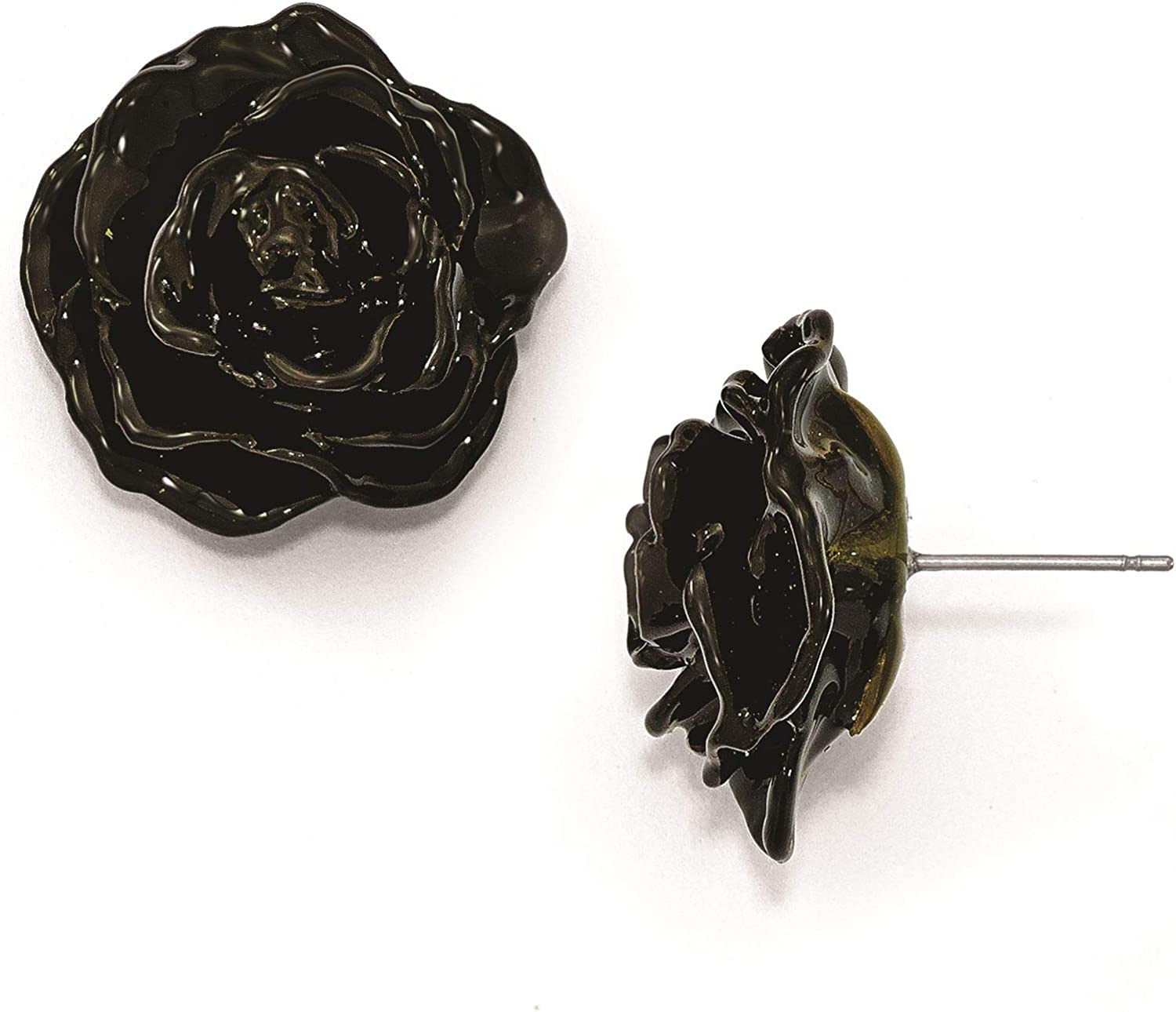 Lacquer Dipped Black Rose Silver-tone Post Earrings