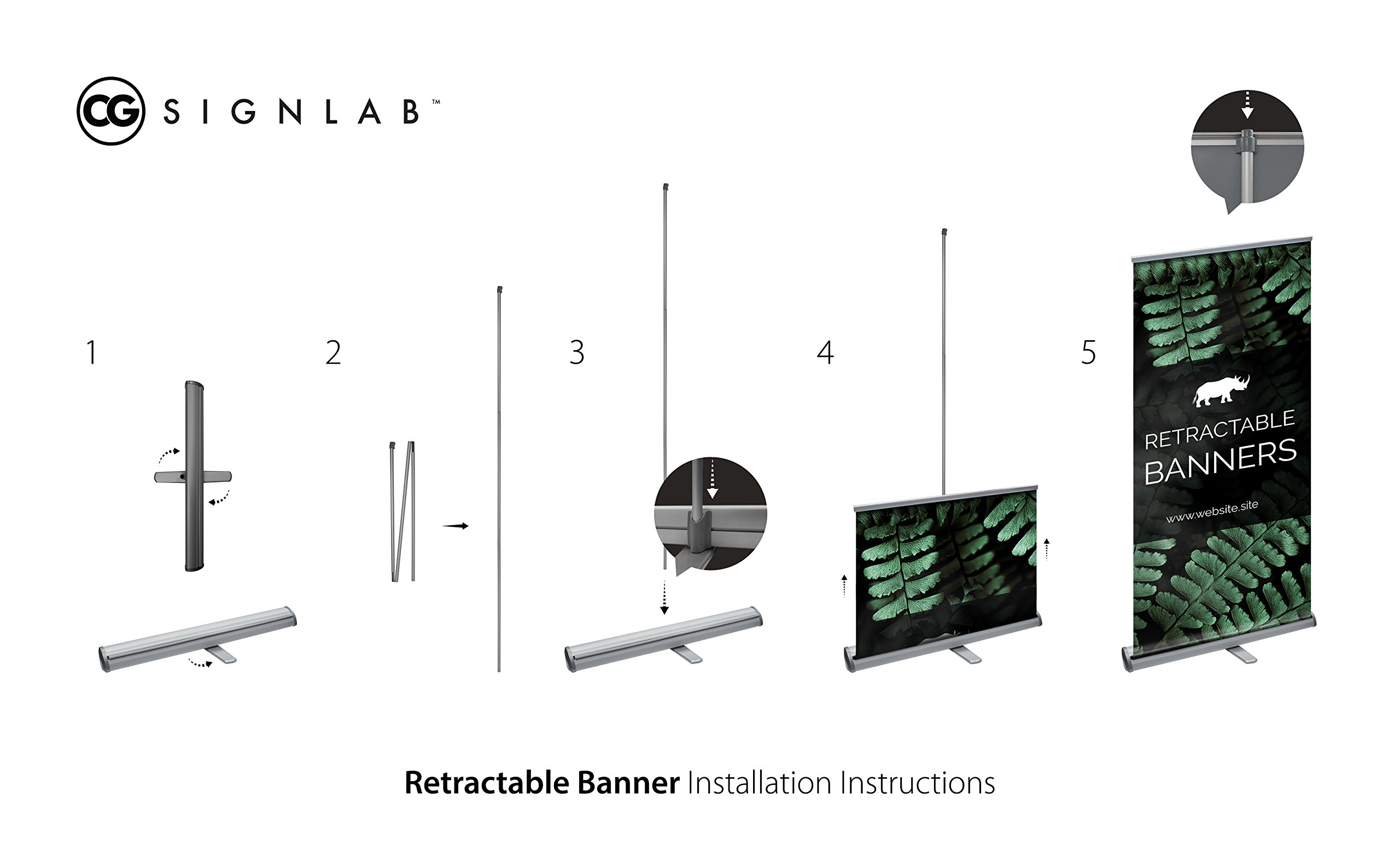 CGSignLab |''Customize Now with Online Designer'' Retractable Floor-Standing Banner with Metal Stand & Travel Case | 33x80