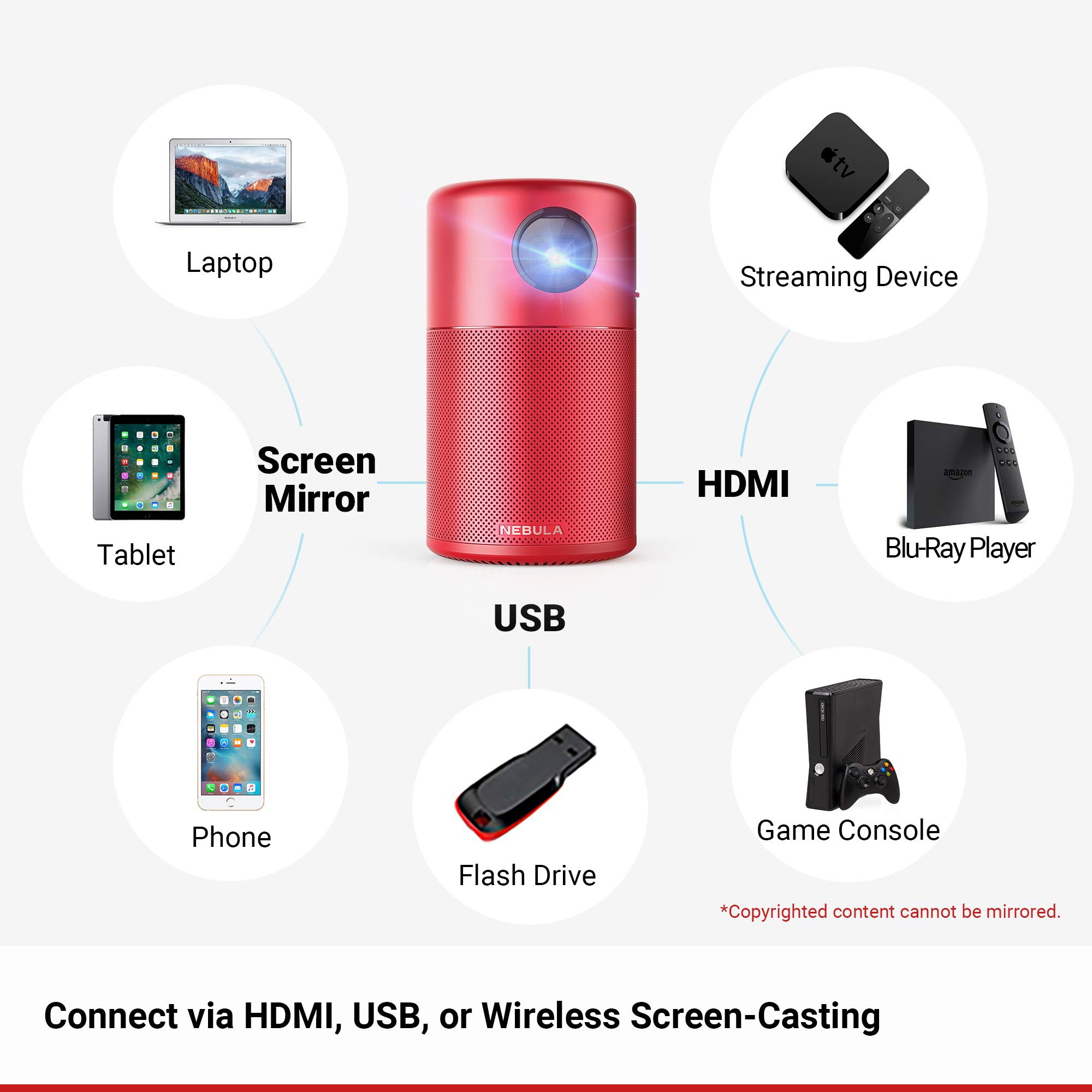 Nebula Capsule Smart Mini Projector, by Anker, Portable 100 ANSI lm High-Contrast Pocket Cinema with Wi-Fi, DLP, 360° Speaker, 100'' Picture, Android 7.1, 4-Hour Video Playtime, and App-Red by Anker (Image #5)