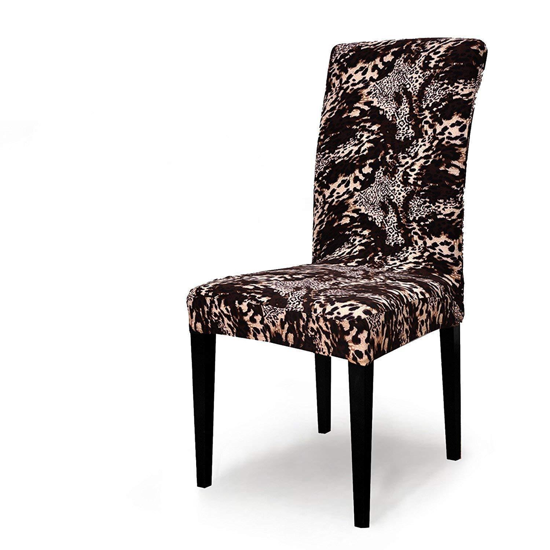TIKAMI 4PCS Spandex Fit Stretch Dinning Room Chair Slipcovers (4, Leopard Print)