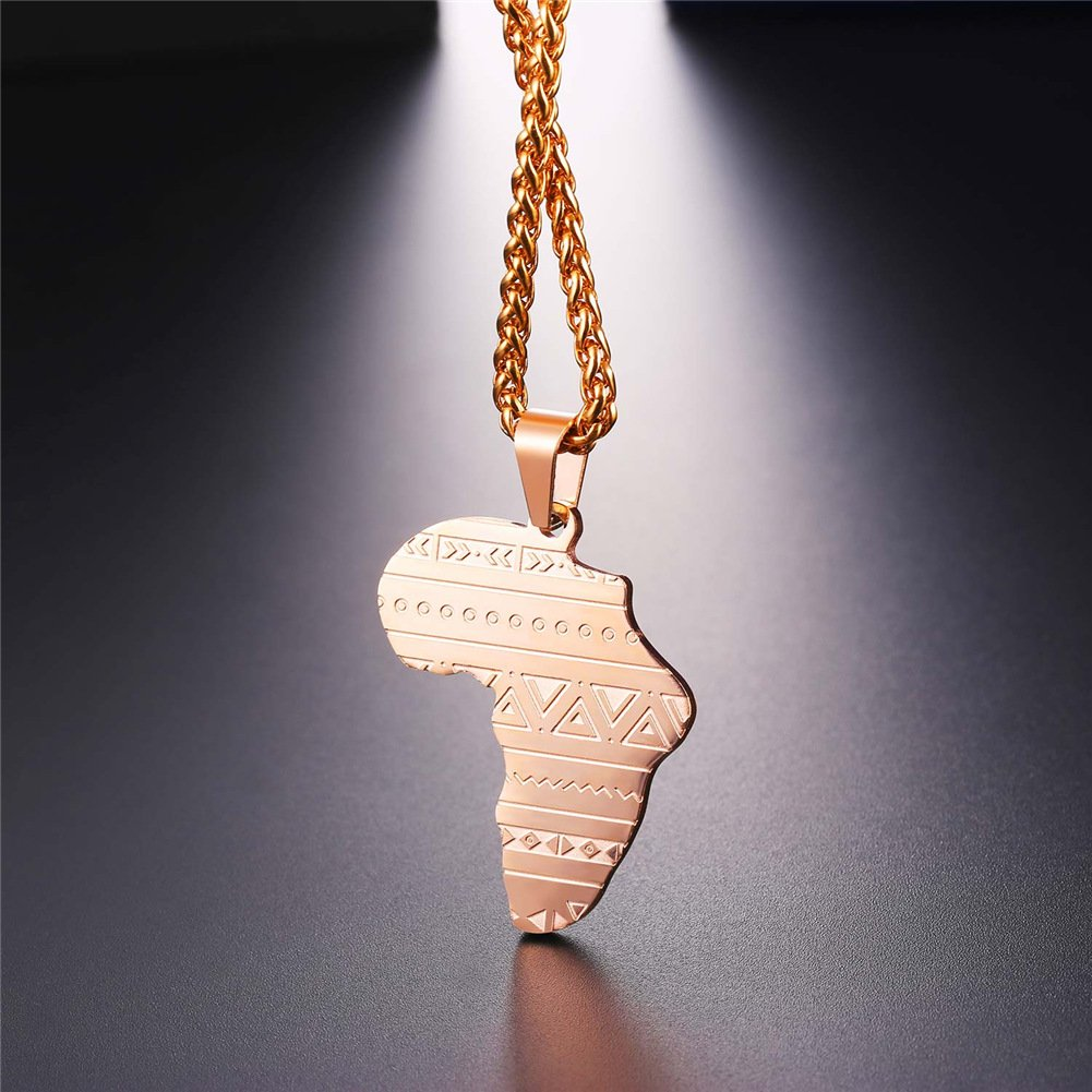 U7 African Map Pnedant Stainless Steel//Gold//Black//Rose Gold Plated Map Jewelry for Women and Men