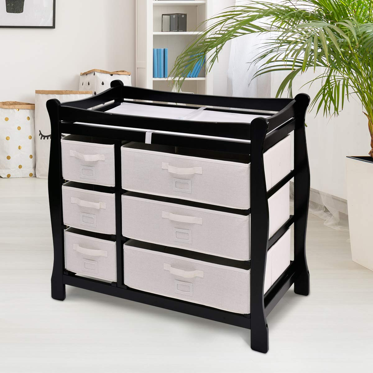 Wine Costzon Baby Changing Table Infant Diaper Nursery Station w//6 Basket Storage Drawers