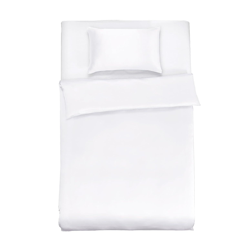 LilySilk Seide Bettwäsche-Set 2 teilig Bettbezug 135x200cm Kissenbezug 40x80cm Seide Unifarben 19 Momme-Weiß
