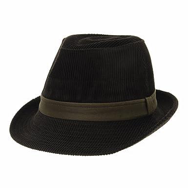 WITHMOONS Mens Corduroy Fedora Hat Band Trilby Stingy Brim LD6842  (Darkbrown) bb4737ecea8