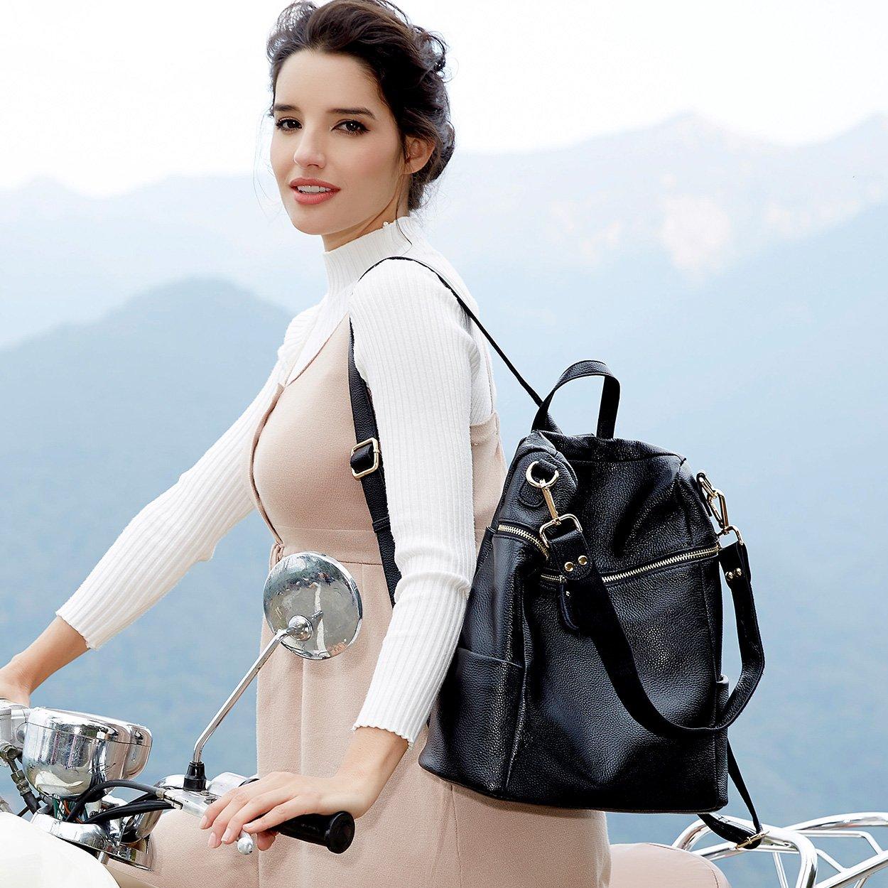 BOYATU Convertible Genuine Leather Backpack Purse for Women Fashion Travel Bag (Black) by BOYATU (Image #7)