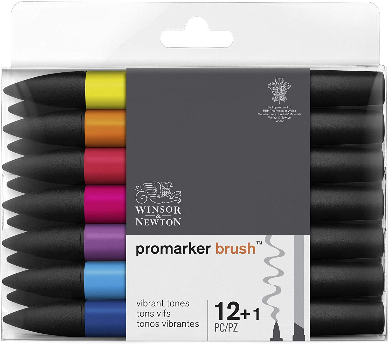 Winsor & Newton - Set de Rotuladores ProMarker Brush, 12 + 1 ...