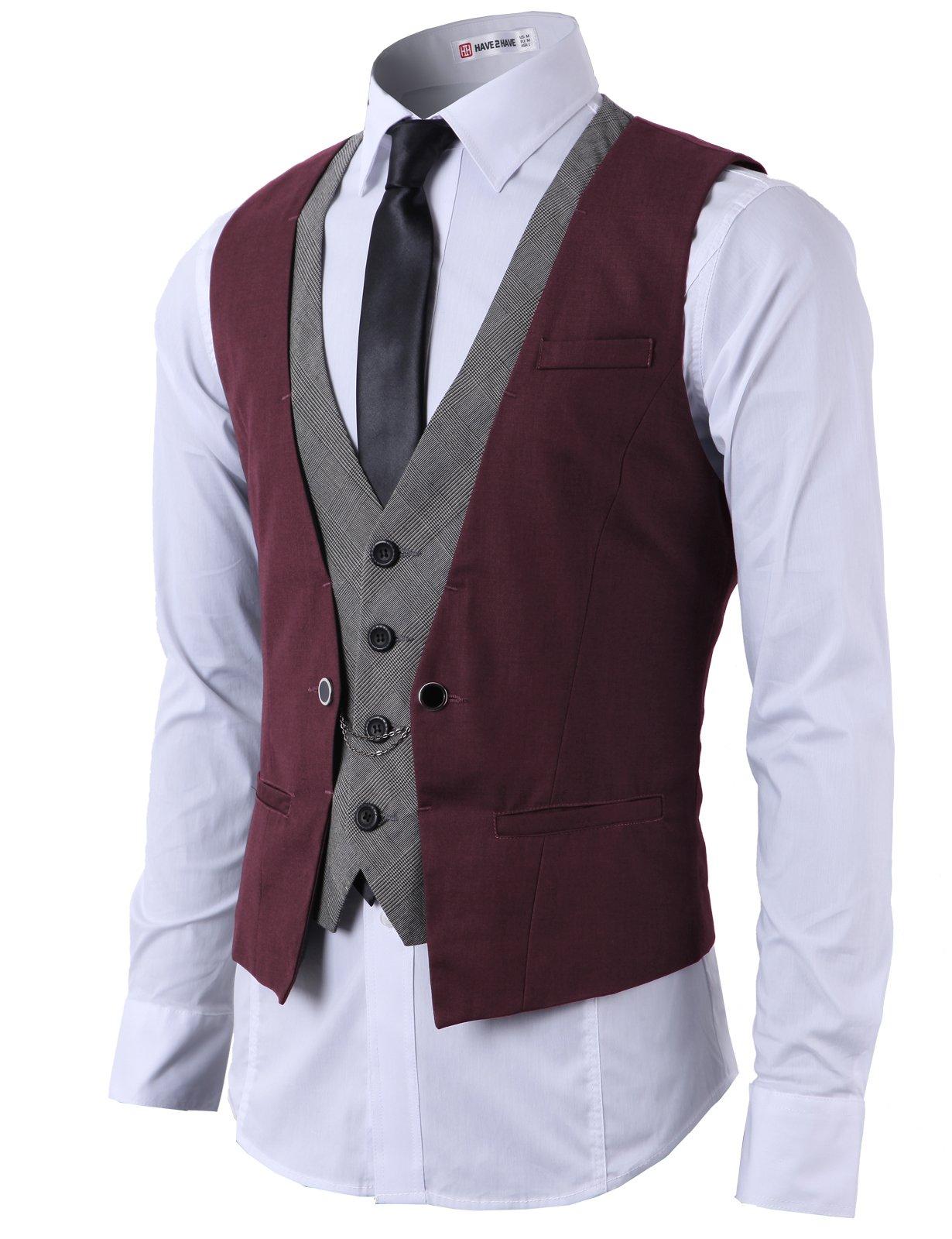 H2H Mens Fashion Slim Fit Chain Point Business Suit Layered Vest Wine US 3XL/Asia 4XL (CMOV01)