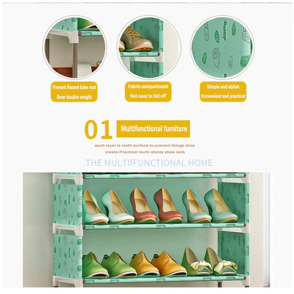 FKUO 4-Tier Shoe Rack Organizer Storage Bench - Holds 12 Pairs - Organize Your Closet Cabinet or Entryway - Easy to Assemble - No Tools Required (Lotus flower) by FKUO (Image #4)
