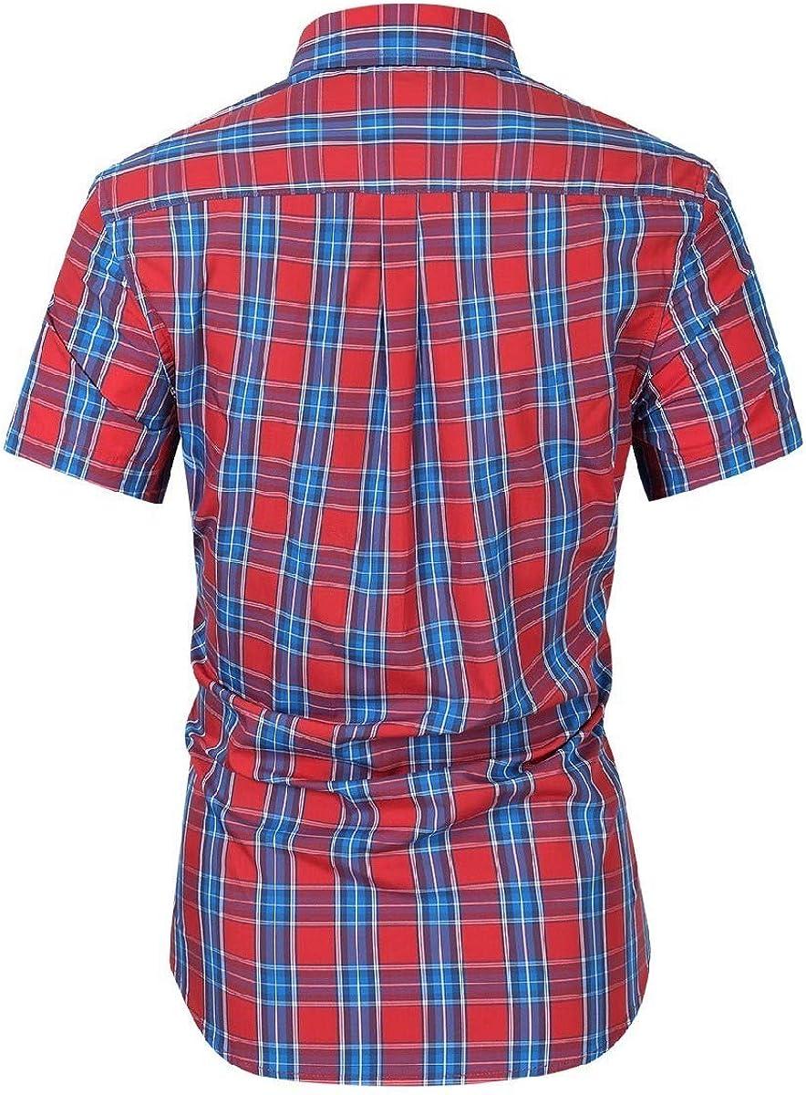 HEFASDM Mens Lapel Short Sleeve Plus-Size Plaid Button Fitted Dress Shirt