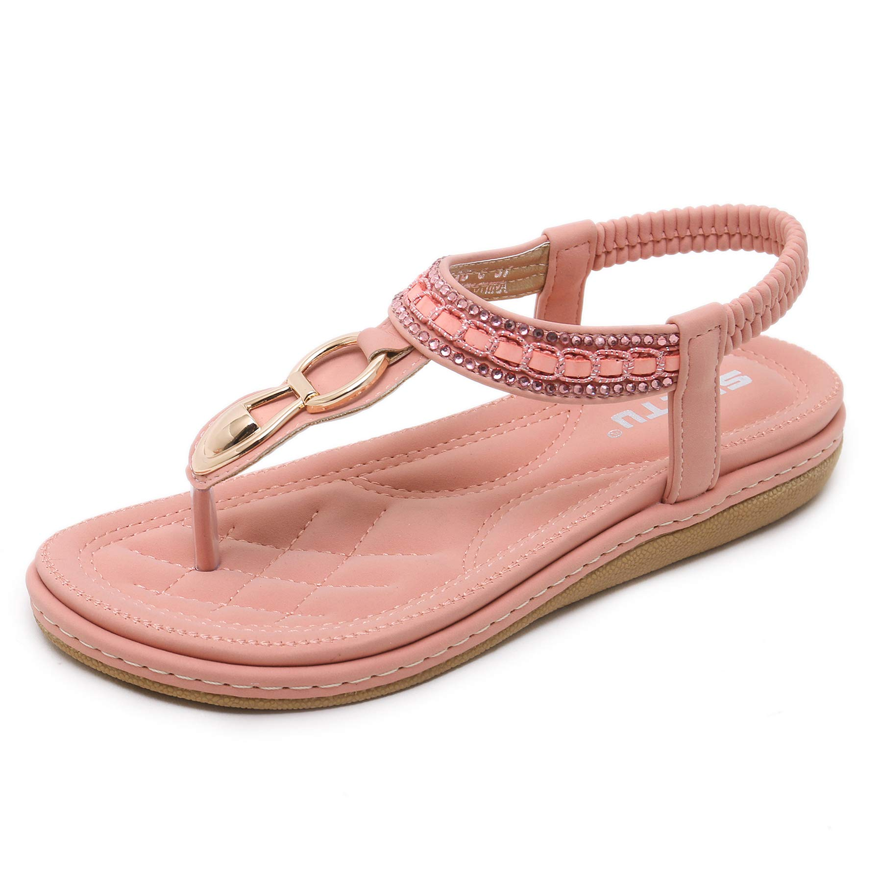 Women Summer Bohemian Flat Thong Sandals, Pink T Strap Flip Flops Glitter Rhinestone Shiny Golden Metal Shoes for Dressy Casual Jeans Daily Wear and Beach Vacation, Back to School Vintage Party