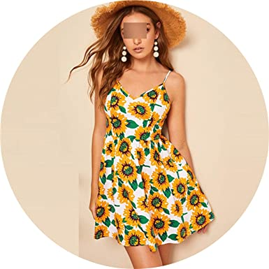 421e4c7006fc White Island Boho Multicolor Knot Back Sunflower Print Cami Dress High Waist  Sleeveless Women A Line Dresses at Amazon Women's Clothing store: