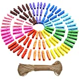 eBoot Mini Colored Natural Wooden Clothespins Photo Paper Peg Pin Craft Clips with Jute Twine, 100 Pieces