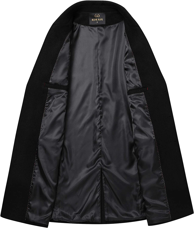 Mens Premium Wool Blend Double Breasted Long Pea Coat