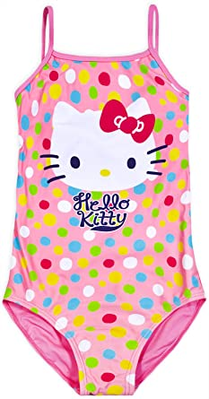 9bbbcab4b9 Hello Kitty Girls Pink Swimming Costume Swimsuit Swimwear Official Age 4-10  Years (Age 8 Years): Amazon.co.uk: Clothing