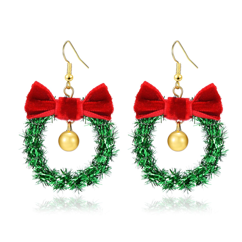 Handmade Christmas Ornament Wreath Earrings,Lightweight Christmas Red Bow Piercing Dangle Earrings,Women//Girls New-Year Gift,Christmas Party Earrings