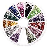 SODIAL(R)2400 x 1mm & 2mm Round Nail Art Rhinestone Wheel Kit