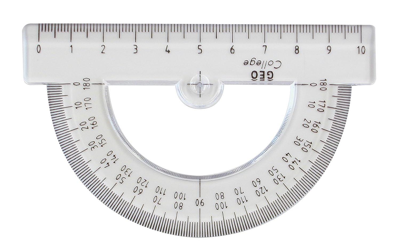 GEOtec GEOCollege - Goniometro in plastica, 180°, 100 mm, 1,5 mm, trasparente AR23301