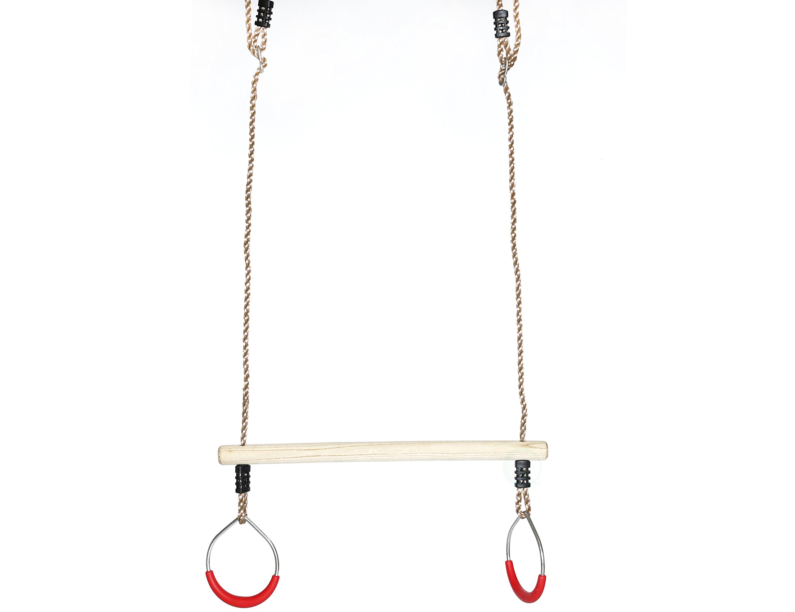 PLAYBERG Kids Trapeze Swing Bar with Rings with Hanging Ropes by PLAYBERG