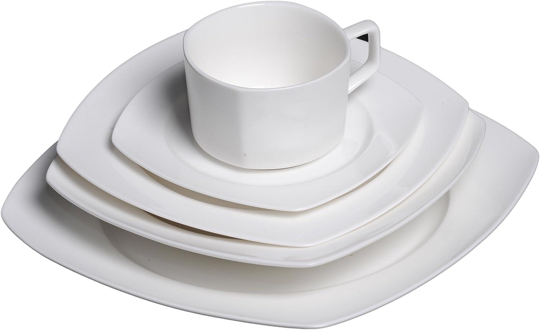 Flato Bone China 20 Piece Square Dinnerware Set, Service for 4