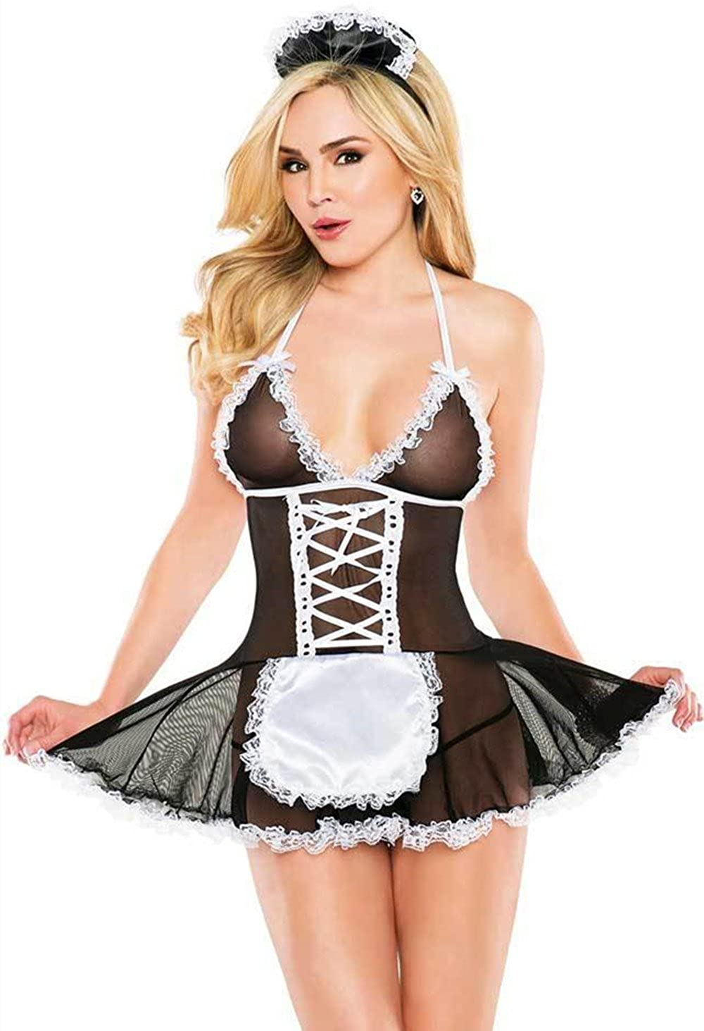 9bad8797e97f0 The package includes headpiece, dress and G-string. This Velvet Kitten Maid  For You Costume features a sheer mesh bodice. Roll playing French maid, ...