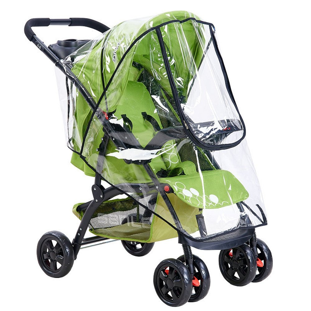 Universal Rain Cover for Most Pushchair Pram Baby Stroller Transparent Rainproof Cover Rain Shade with Zip Front Opening Waterproof Wind Rain Weather Shield Protector Perfectii